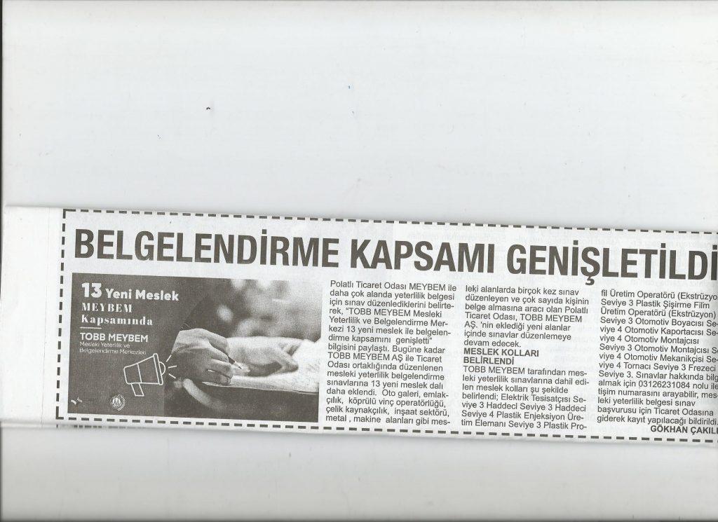 29.09.2020 - Polatlı Postası- BELGELENDİRME KAPSAMI GENİŞLETİLDİ