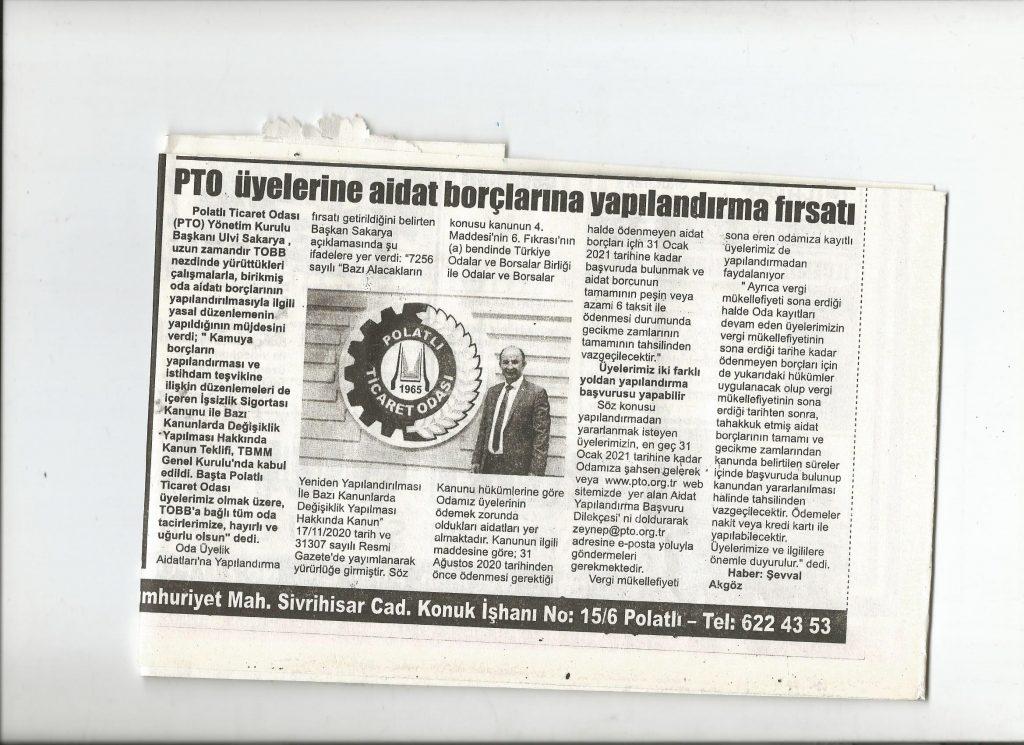 04.12.2020- İstiklal Gazetesi-PTO ÜYELERİNE AİDAT BORÇLARINA YAPILANDIRMA