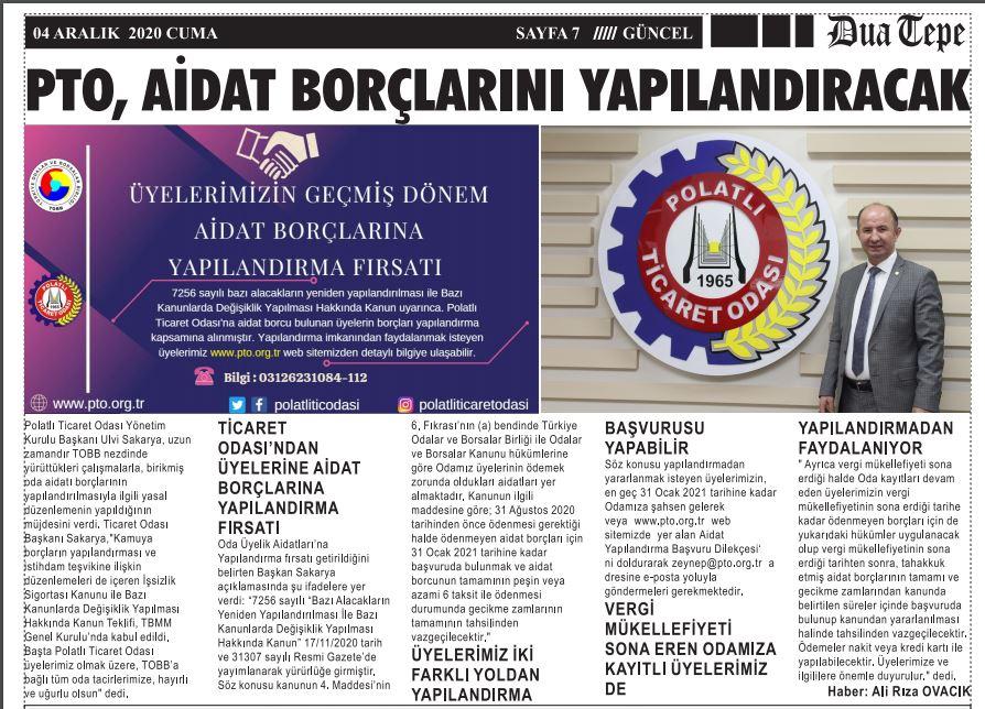 04.12.2020- Duatepe Gazetesi-PTO AİDAT BORÇLARINI YAPILANDIRACAK