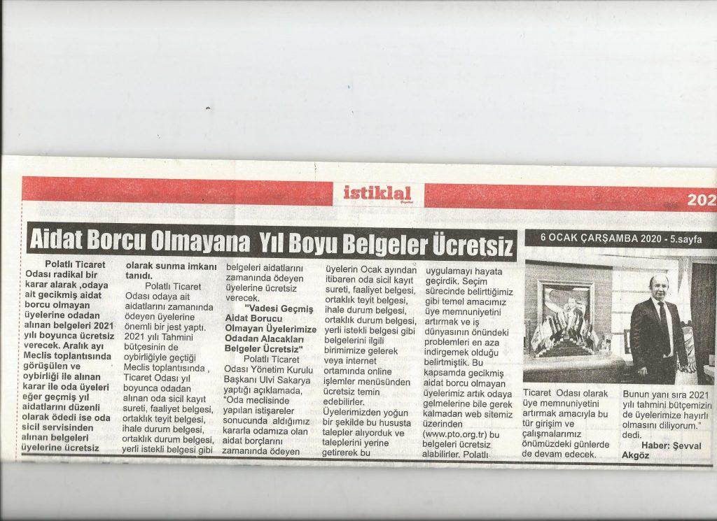 06.01.2021- İstiklal Gazetesi- AİDAT BORCU OLMAYANA YIL BOYU BELGELER ÜCRETSİZ