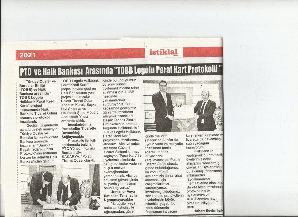 06.01.2021- İstiklal Gazetesi- PTO VE HALKBANK ARASINDA TOBB LOGOLU PARAKART PROTOKOLÜ