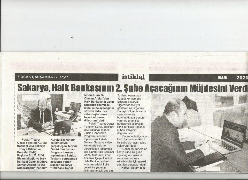06.01.2021- İstiklal Gazetesi -SAKARYA HALKBANKASININ 2.ŞUBE AÇACAĞININ MÜJDESİNİ VERDİ