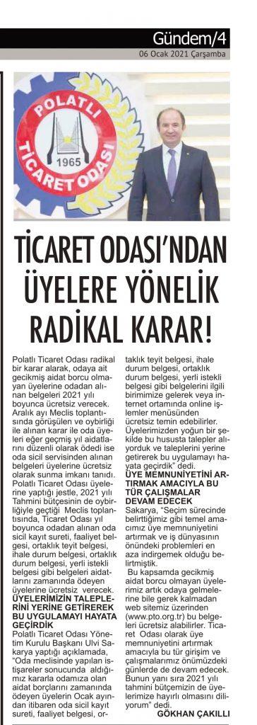 06.01.2021- Polatlı Postası- TİCARET ODASINDAN ÜYELERE RADİKAL KARAR