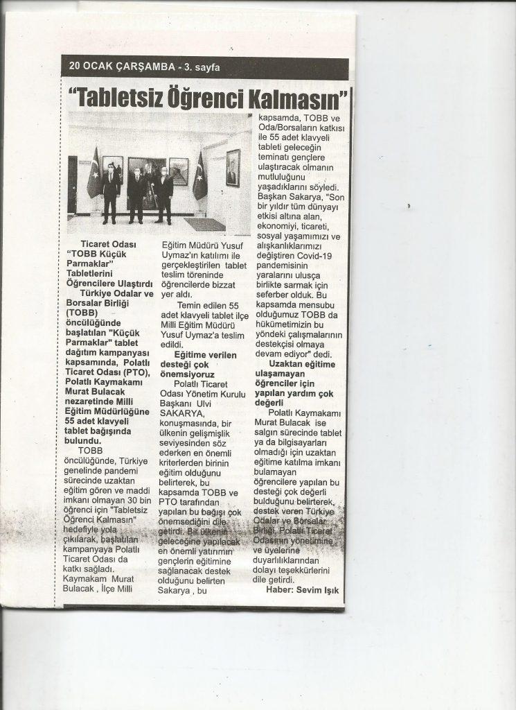 21.01.2021- İstiklal Gazetesi- TABLETSİZ ÖĞRENCİ KALMASIN