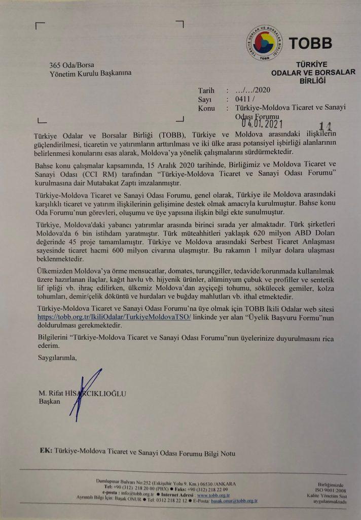 Türkiye-Moldova Tircaret ve Sanayi Odası Forumu