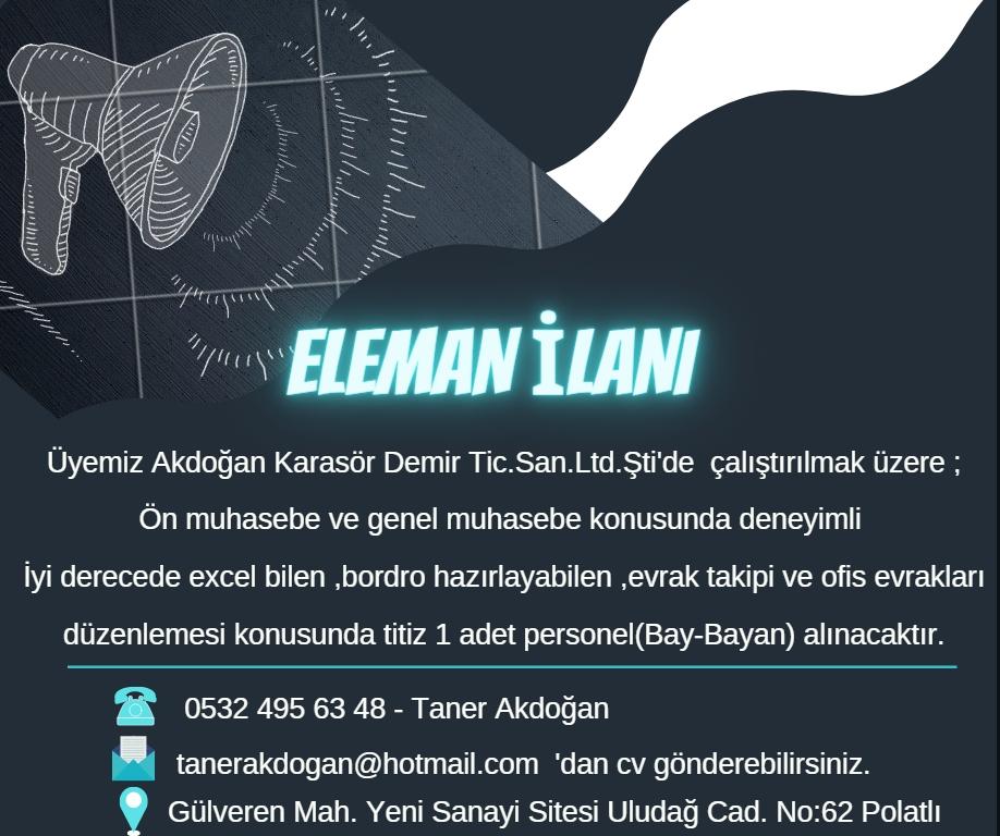akdoğan karasör muhasebe eleman ilanı