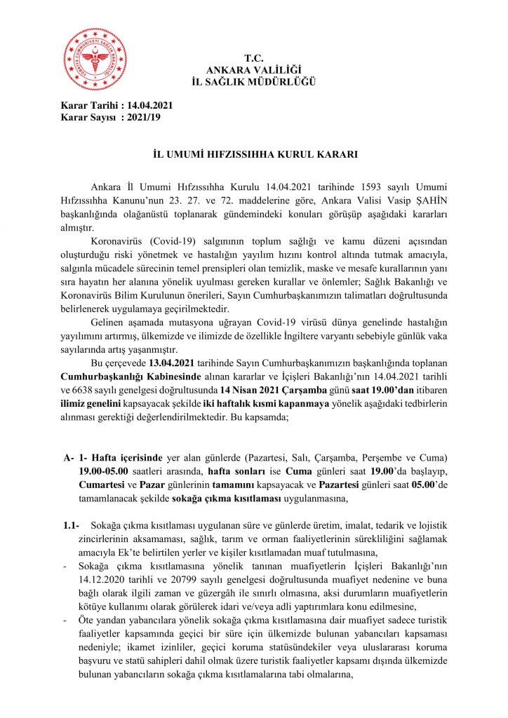 İl Umumi Hıfzıssıhha Kurul Kararı 2021-19-1