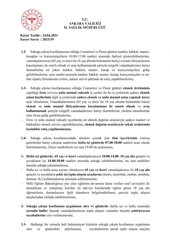 İl Umumi Hıfzıssıhha Kurul Kararı 2021-19-2