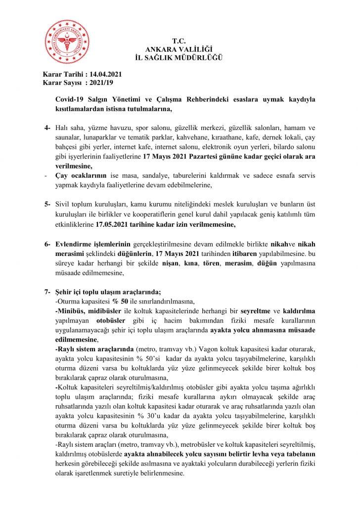 İl Umumi Hıfzıssıhha Kurul Kararı 2021-19-4