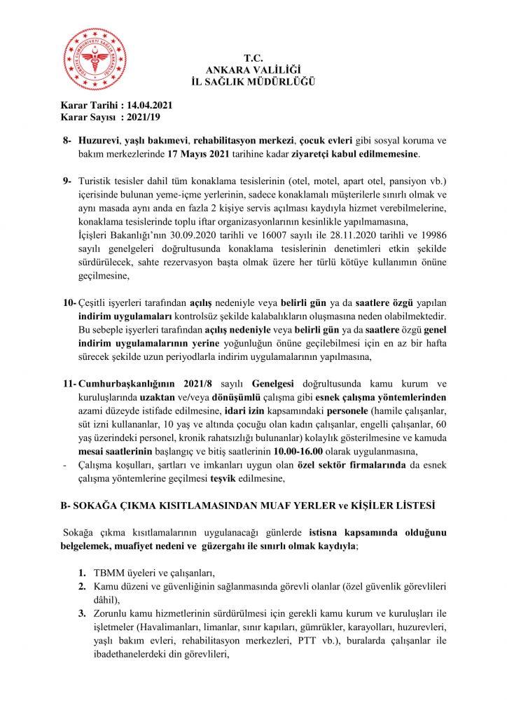 İl Umumi Hıfzıssıhha Kurul Kararı 2021-19-5