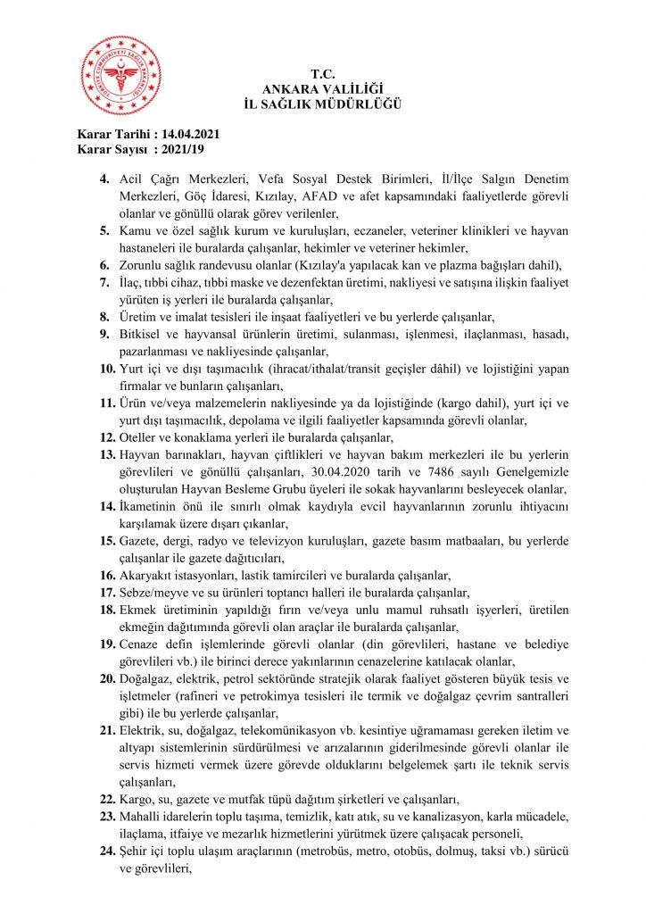 İl Umumi Hıfzıssıhha Kurul Kararı 2021-19-6
