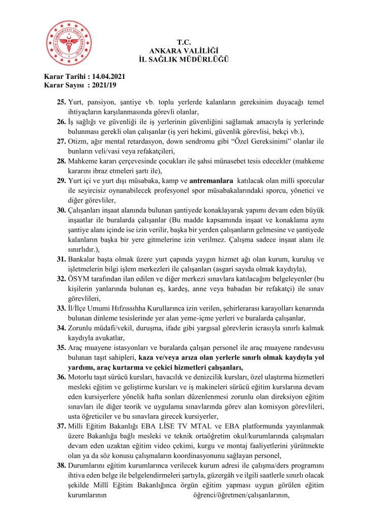İl Umumi Hıfzıssıhha Kurul Kararı 2021-19-7