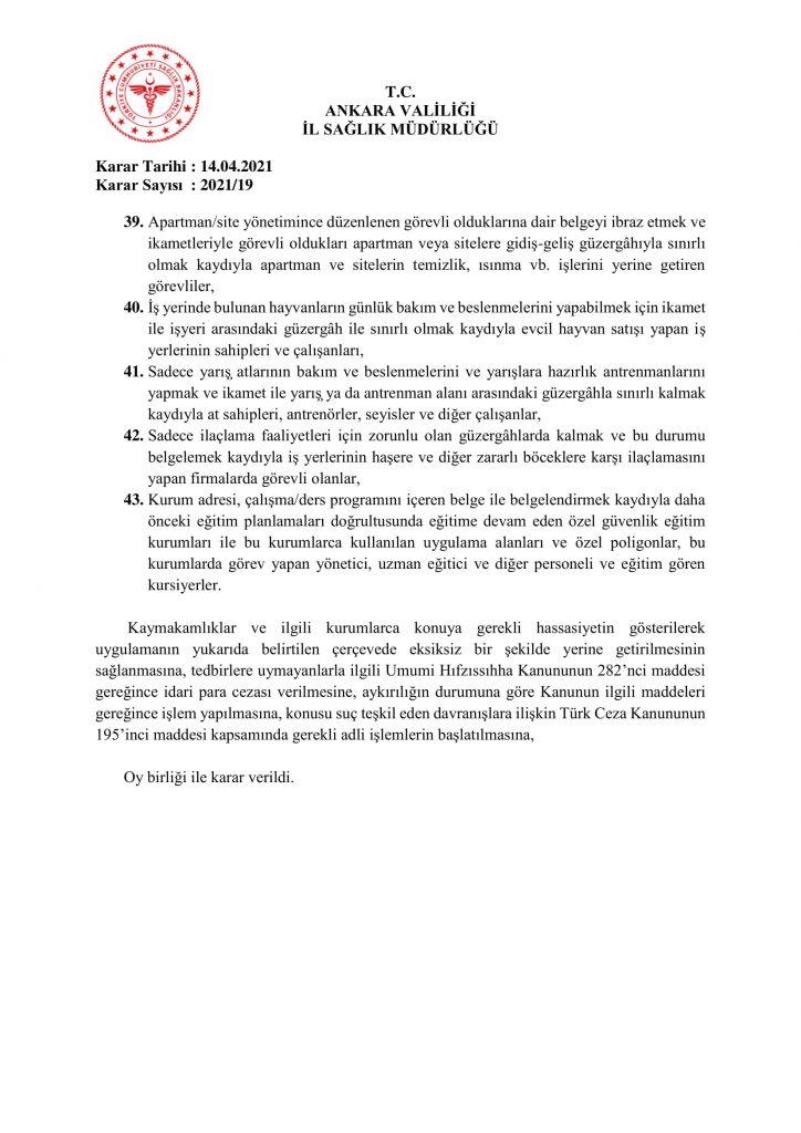 İl Umumi Hıfzıssıhha Kurul Kararı 2021-19-8