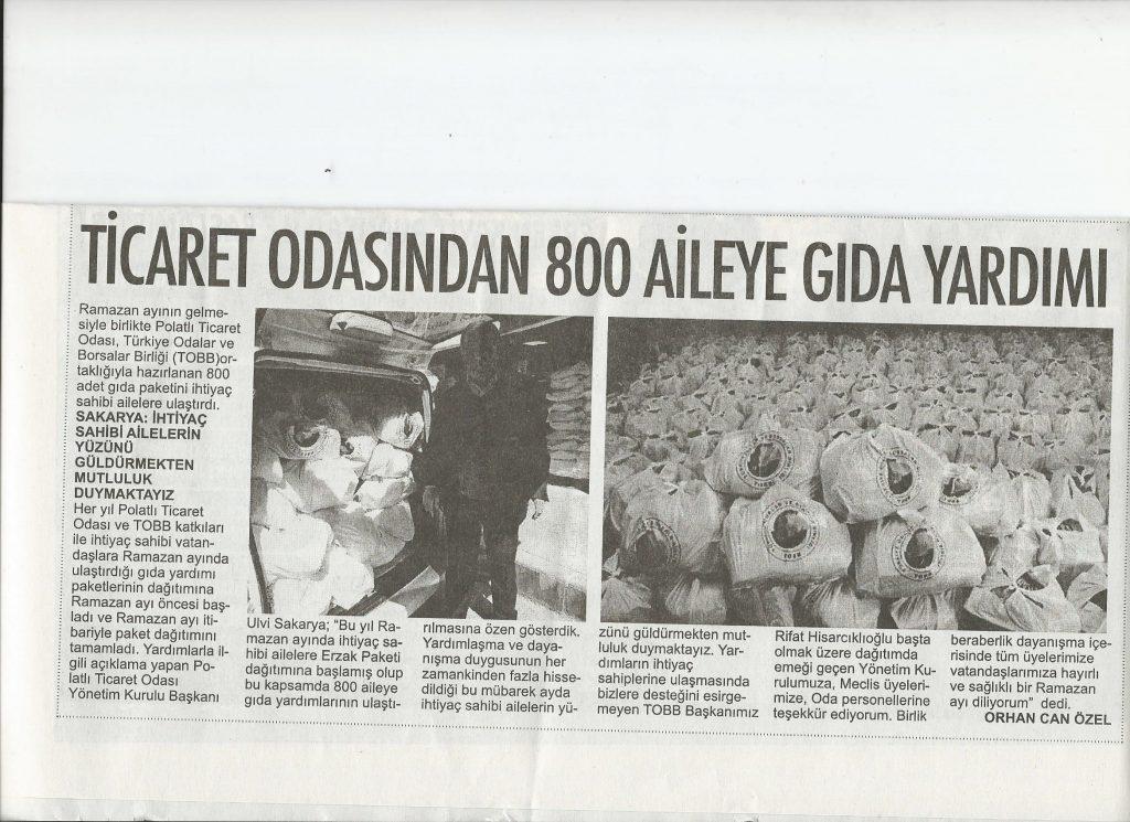 15.04.2021- Polatlı Postası-TİCARET ODASI'NDAN 800 AİLEYE GIDA PAKETİ