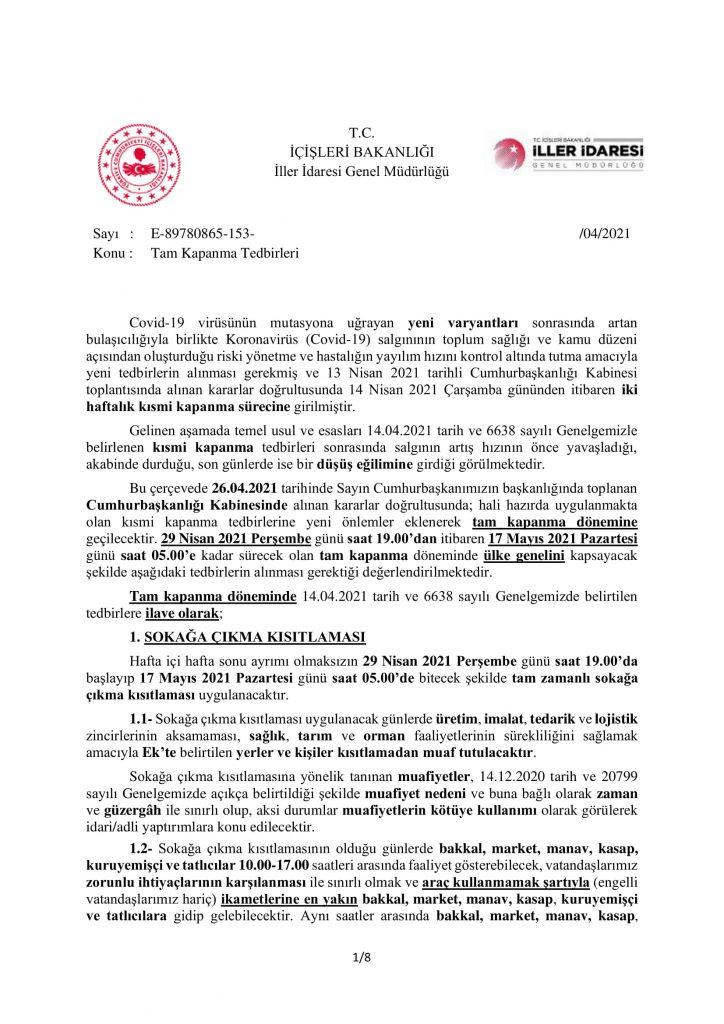 TAM KAPANMA TEDBİRLERİ-1