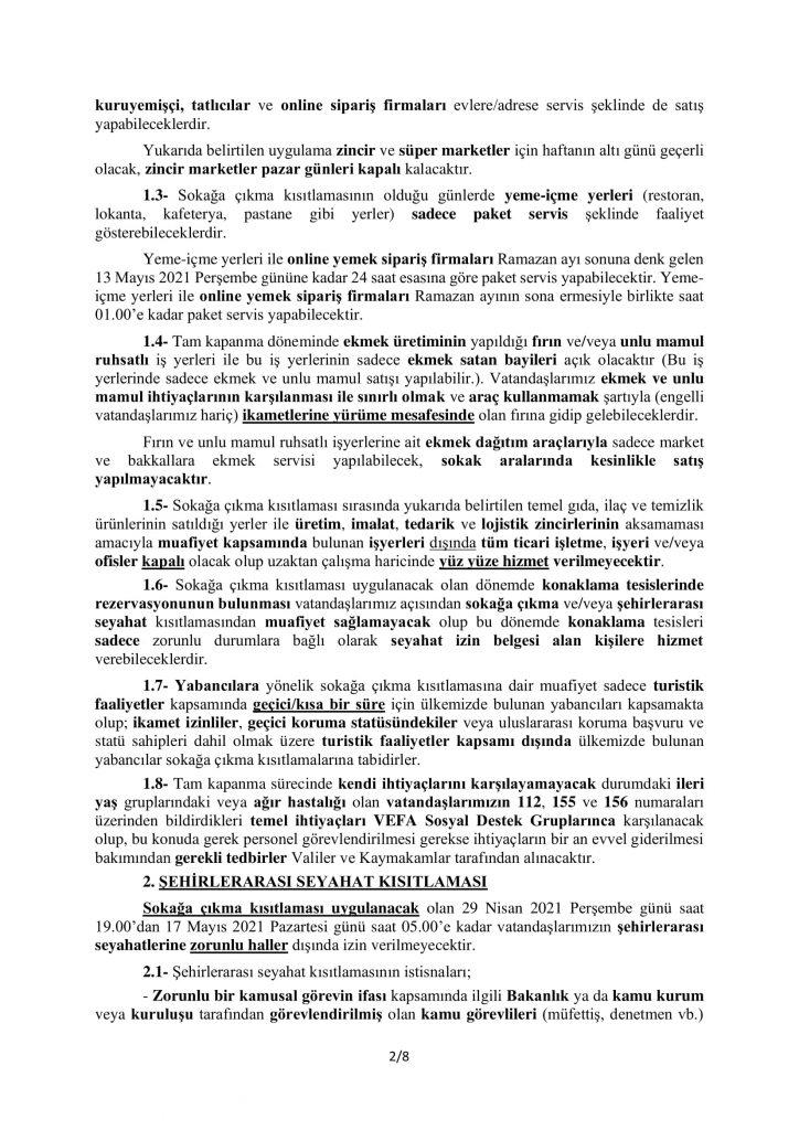 TAM KAPANMA TEDBİRLERİ-2