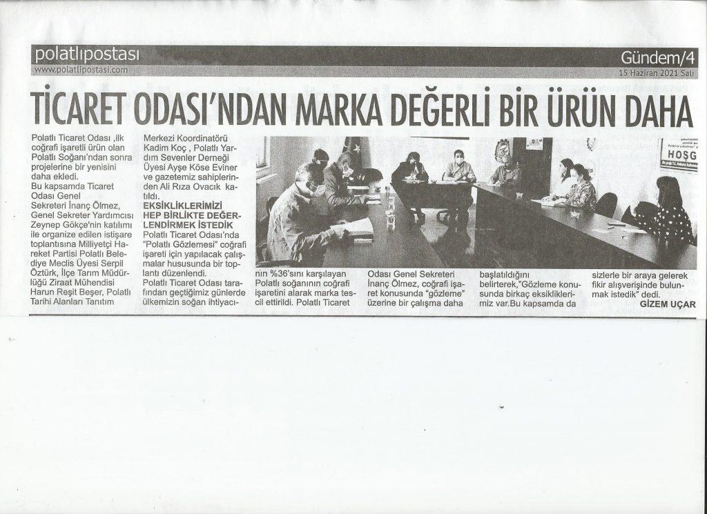 15.06.2021- Polatlı Postası- TİCARET ODASINDAN MARKA DEĞERLİ BİR ÜRÜN DAHA