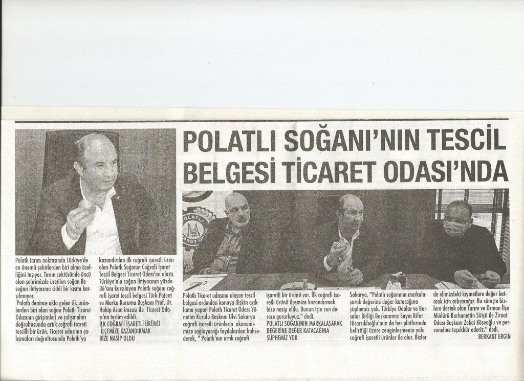 12.07.2021- Polatlı Postası-POLATLI SOĞANININ TESCİL BELGESİ TİCARET ODASINDA