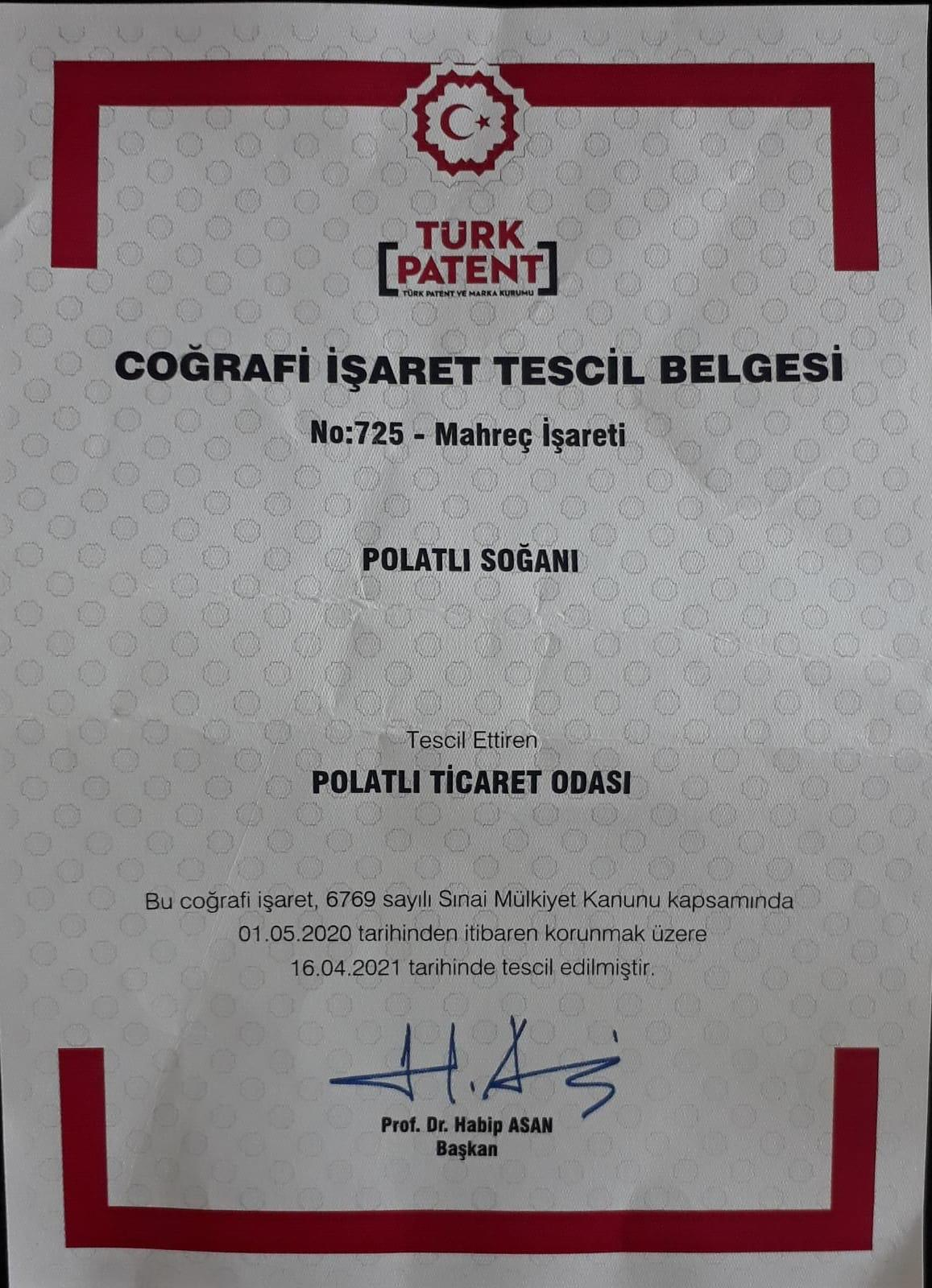 POLATLI SOĞANININ TESCİL BELGESİ TİCARET ODASI'NDA