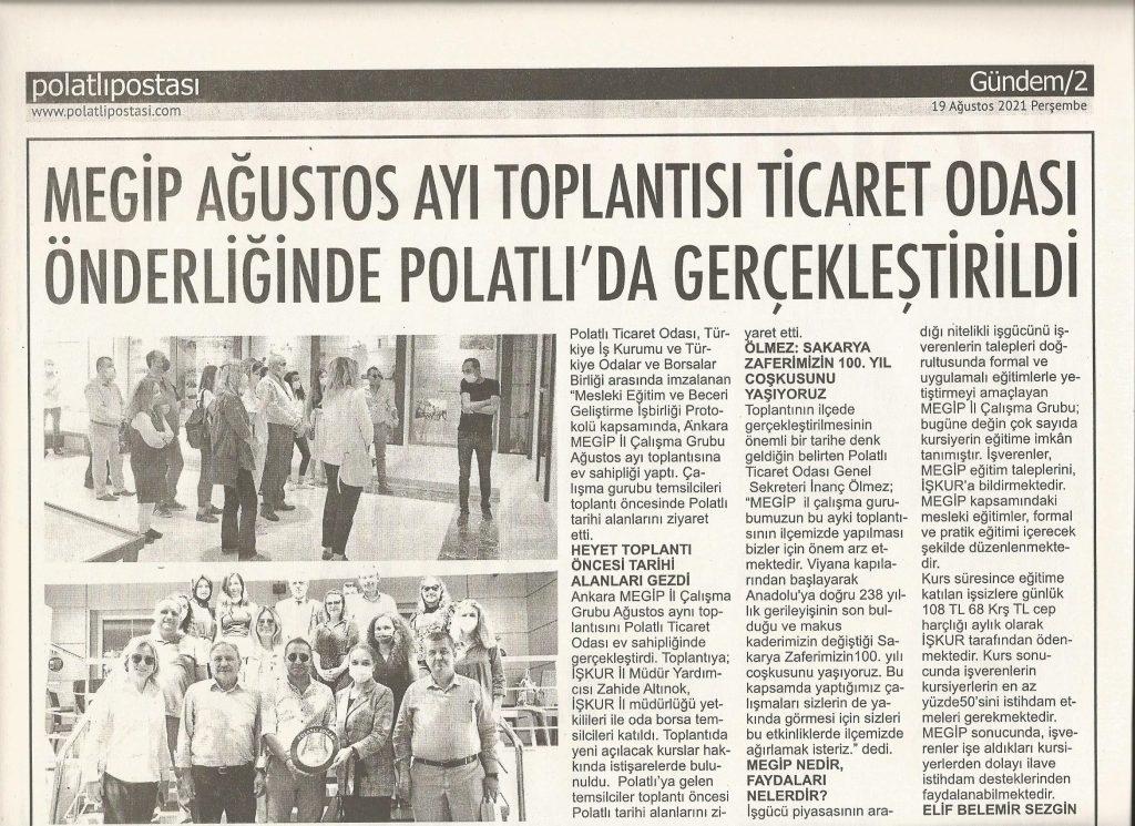 19.08.2021- Polatlı Postası- MEGİP AĞUSTOS AYI TOPLANTISINI TİCARET ODASI ÖNDERLİĞİNDE GERÇEKLEŞTİRDİ