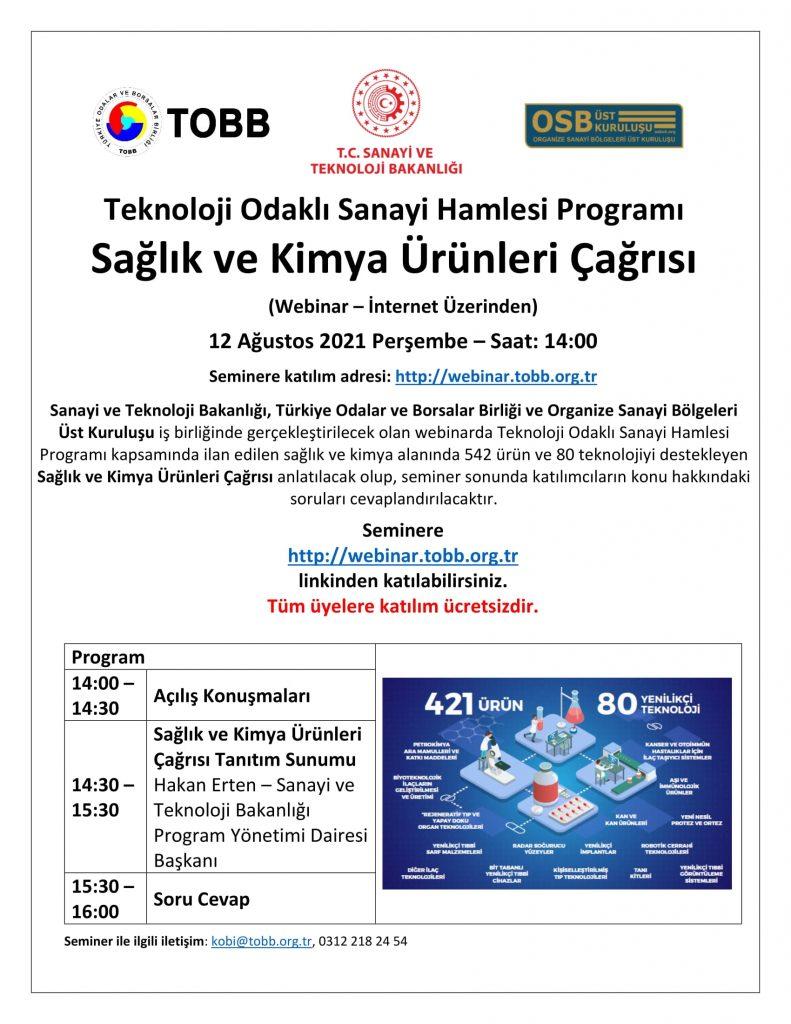 Teknoloji Odakl¦- Sanayi Hamlesi Program¦- Sa¦şl¦-k ve Kimya +£r+-nleri +ça¦şr¦-s¦- Bilgilendirme Semineri_2-2