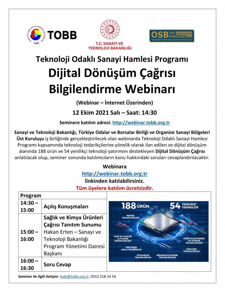 Teknoloji Odaklı Sanayi Hamlesi Programı Dijital Dönüşüm Çağrısı Bilgilendirme Semineri Hk.-2