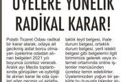 POLATLI TİCARET ODASI'NDAN ÜYELERİNE JEST