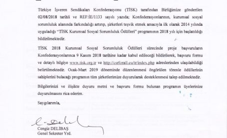 TİSK 2018 Kurumsal Sosyal Sorumluluk Ödülleri Programı