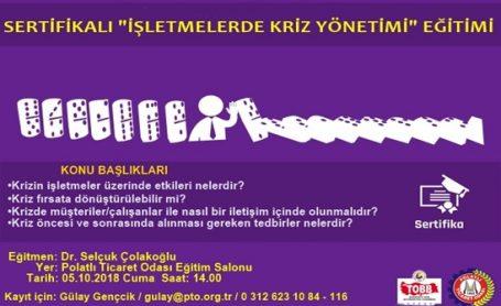 PTO' dan Sertifikalı İşletmelerde Kriz Yönetimi Eğitimi !!
