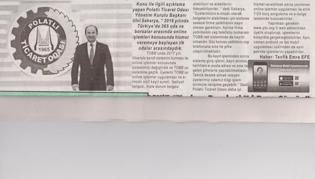 Duatepe Gazetesi - Online işlemleri 1. yılını doldurdu.