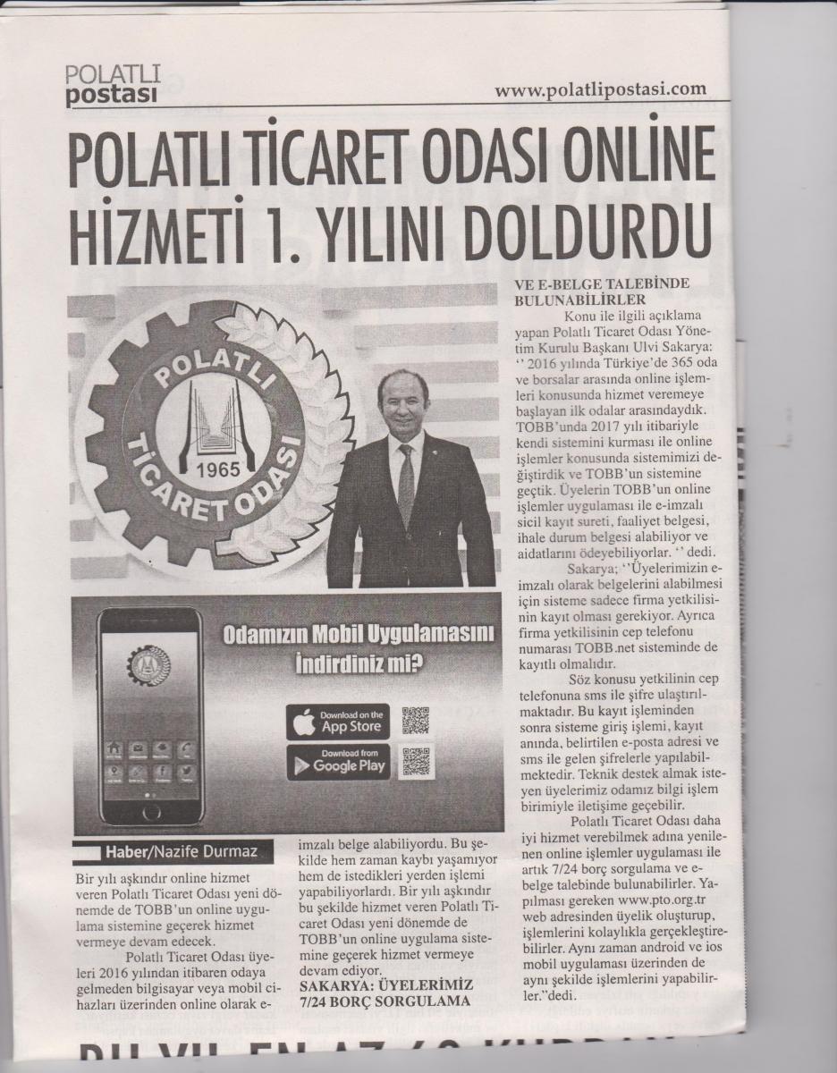 Polatlı Postası - Online işlemleri 1. yılını doldurdu. (2)